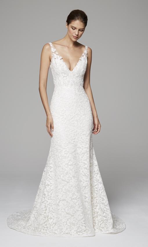 anne barge vneck beaded wedding dress