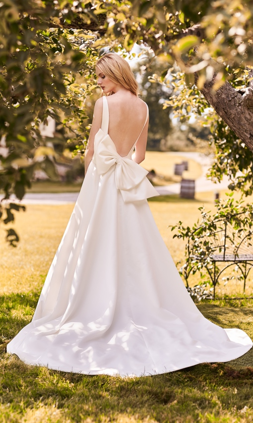 high neck satin aline with big back bow