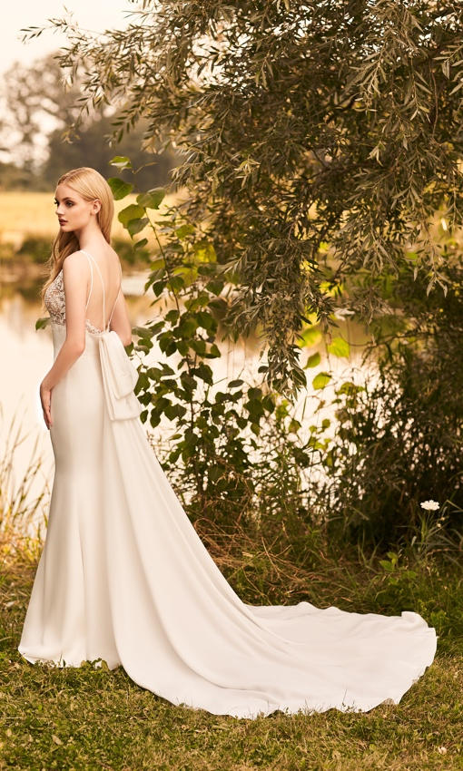 organza crepe fit and flare gown with big bow