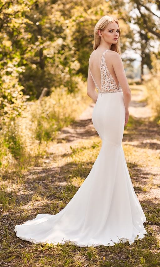crepe and lace wedding gown from mikaella bridal