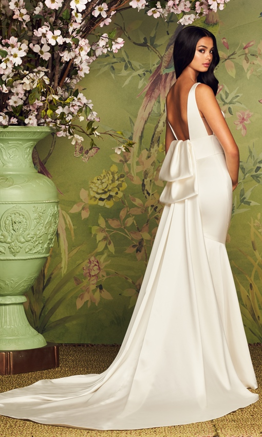Paloma Blanca v-neck satin fit and flare gown
