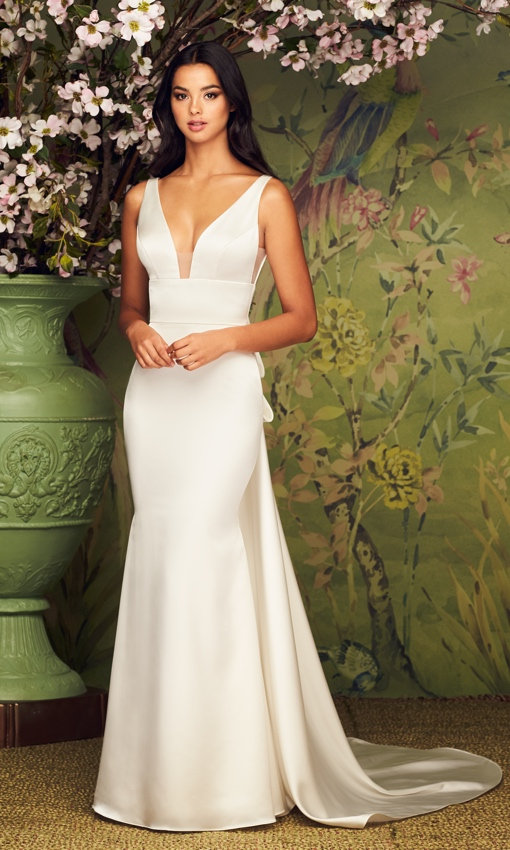 Paloma Blanca square back neckline satin gown with bow