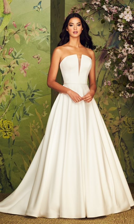 Paloma Blanca satin fialle plunging neckline a-line gown