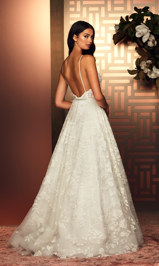 Paloma Blanca lace and tulle applique low back dress
