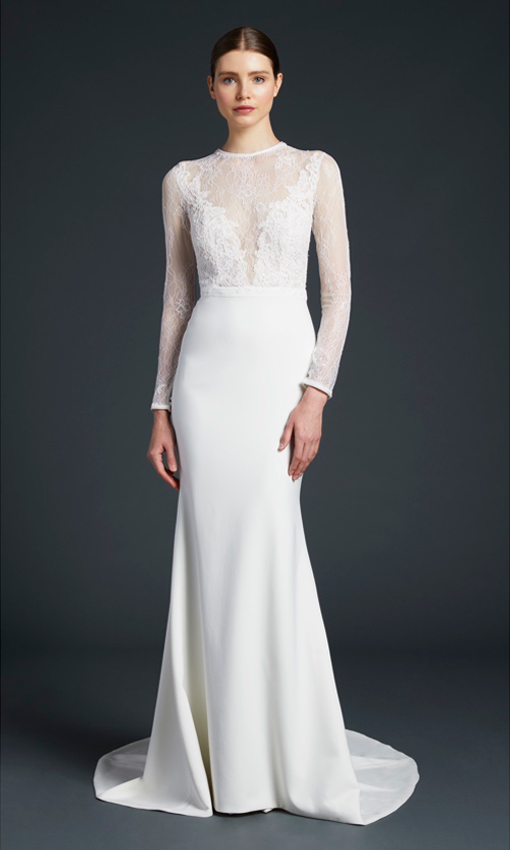 anne barge long sleeve lace and crepe gown