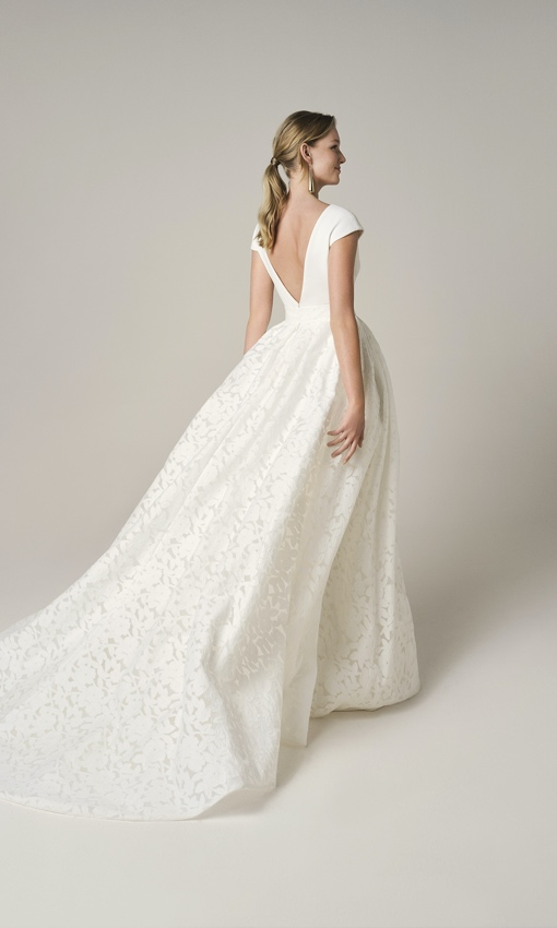 jesus peiro 228 crepe gown with overskirt back