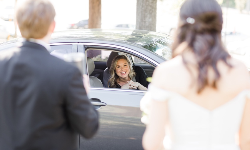 guest driving by at covid wedding