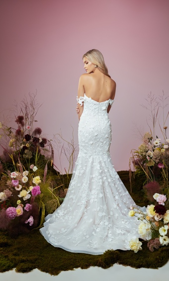 Back of off shoulder 3d floral wedding gown fit and flare