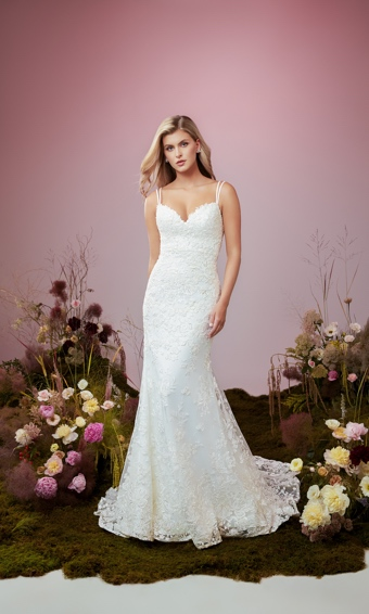 Double strapped plunging sweetheart bodice with fit and flare skit in beaded embroidered lace