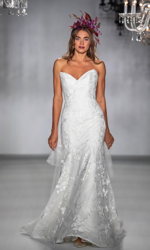 Strapless fit to flare beaded lace gown