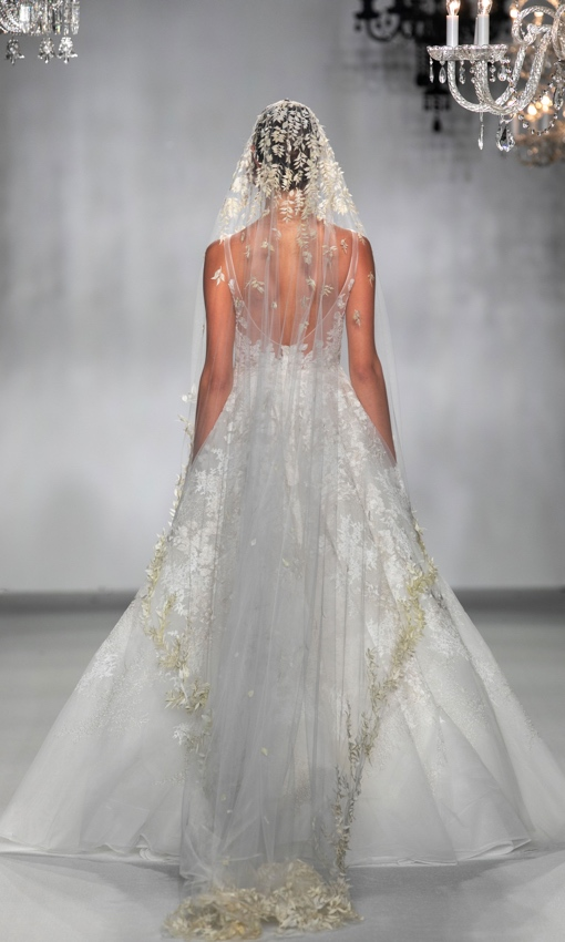 V-back lace and tulle gown with veil