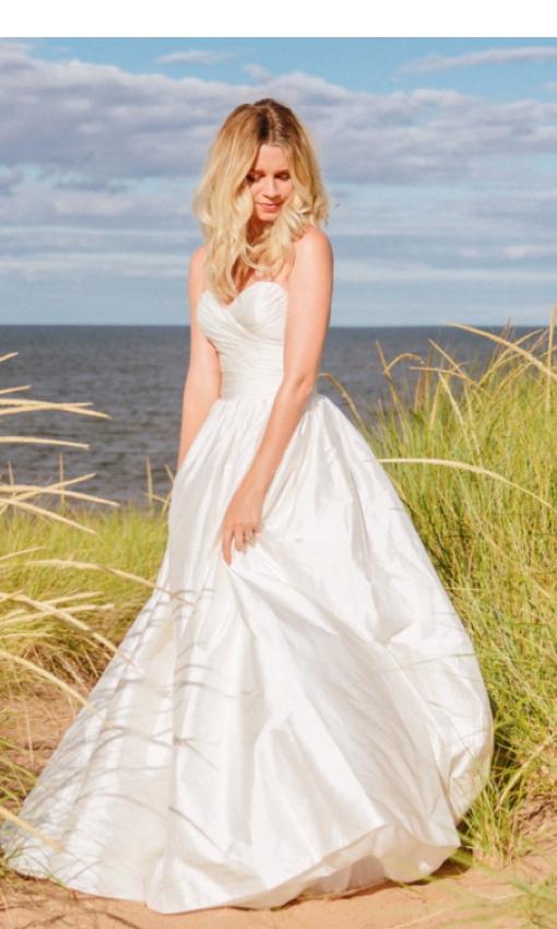 strapless silk shantung wedding gown front