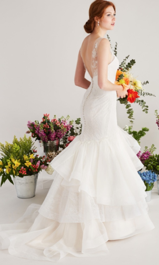 back of trumpet lace wedding gown
